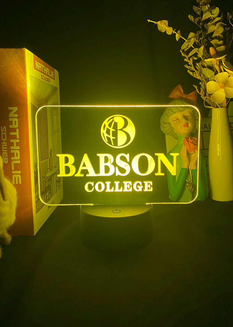 Newest Babson College Logo 3D Night Light Bluetooth Speaker Color Changing LED Night Lamp for Present Office Night Light Indoor