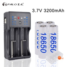 PALO 2 pièces/4 pièces 3200mAh 3.7V 18650 li-ion Batteries rechargeables + LED chargeur intelligent pour AA AAA 18650 14500 16350 lampe de poche LED