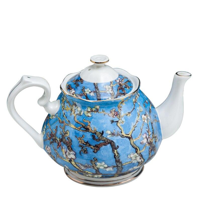 إبريق شاي من العظام الصيني بسعة 1000 مللي ، طلاء فان جوخ ، إبريق شاي سيراميك لتقديم القهوة ، غلاية القهوة ، هدية منزلية