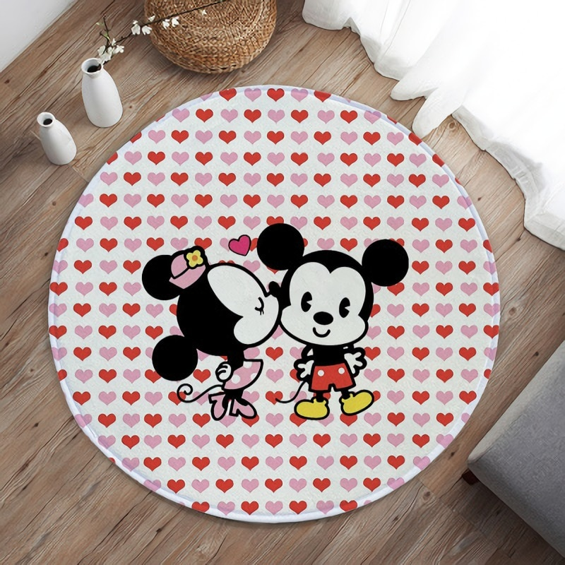 Round 120cm Mickey Baby Play Mat Anti-slip Carpet Indoor Printed Decoration Area Rugs Living Room Bedroom  Sofa Floor Decor Mat