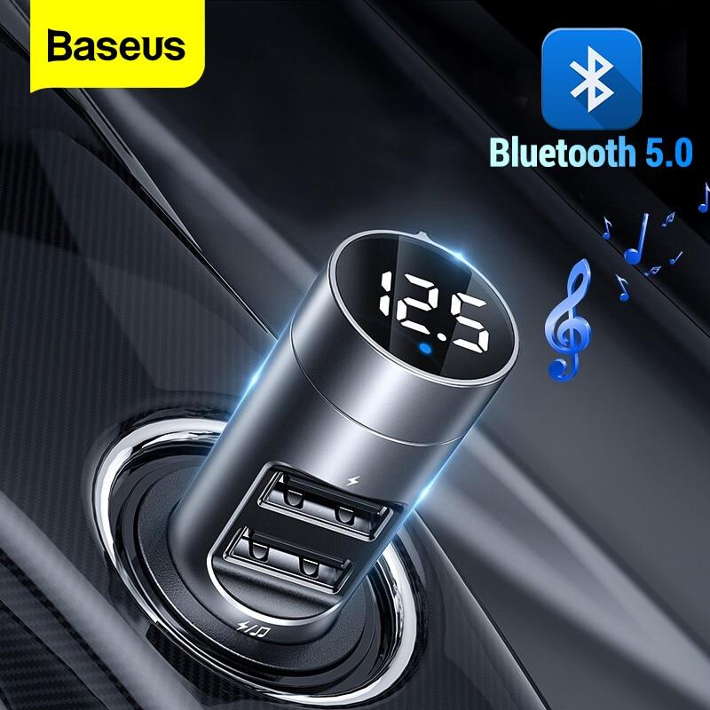 aliexpress - Baseus FM Transmitter Car Wireless Bluetooth 5.0 FM Radio Modulator Car Kit 3.1A USB Car Charger Handsfree Aux Audio MP3 Player