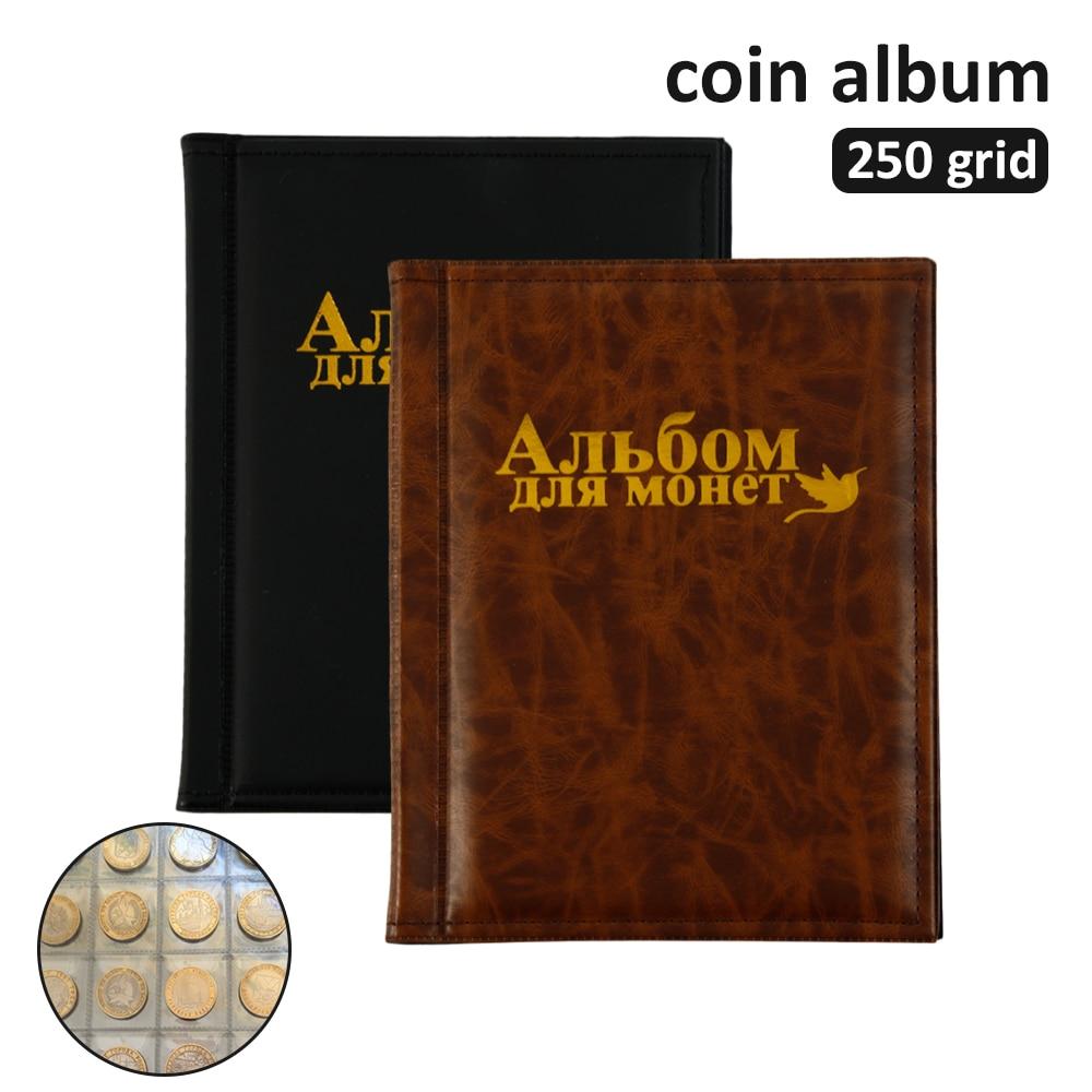 250 единиц Альбом для монет 10 страниц профессиональная коллекция монет держатель для книг из искусственной кожи органайзер для монет Чехол д...