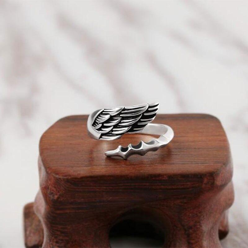 Pena aberto anel thai prata jóias da cor do vintage para o amante melhor presente dropshipping S-R302