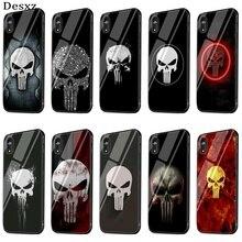 Verre de Téléphone portable étui pour iphone 5 5s SE 6 6s 7 8 Plus XR X XS Max Couverture Punisher