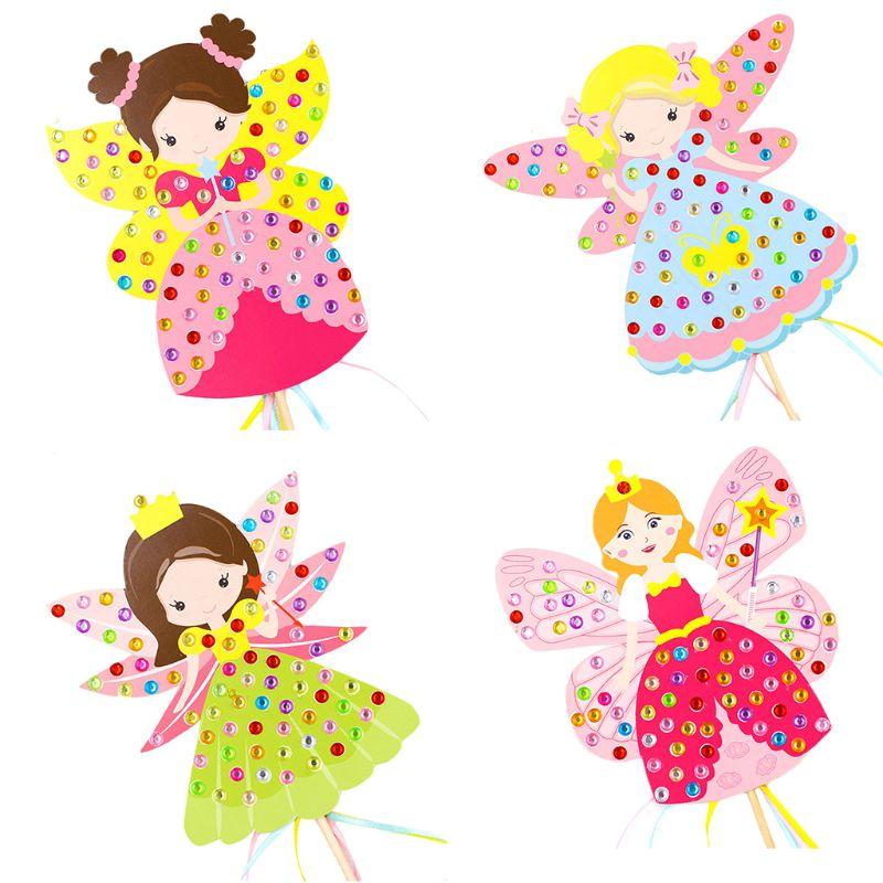 Colorido diamante Hada de palo hecho a mano paquete de Material princesa varita mágica niña regalo DIY juguetes artesanales