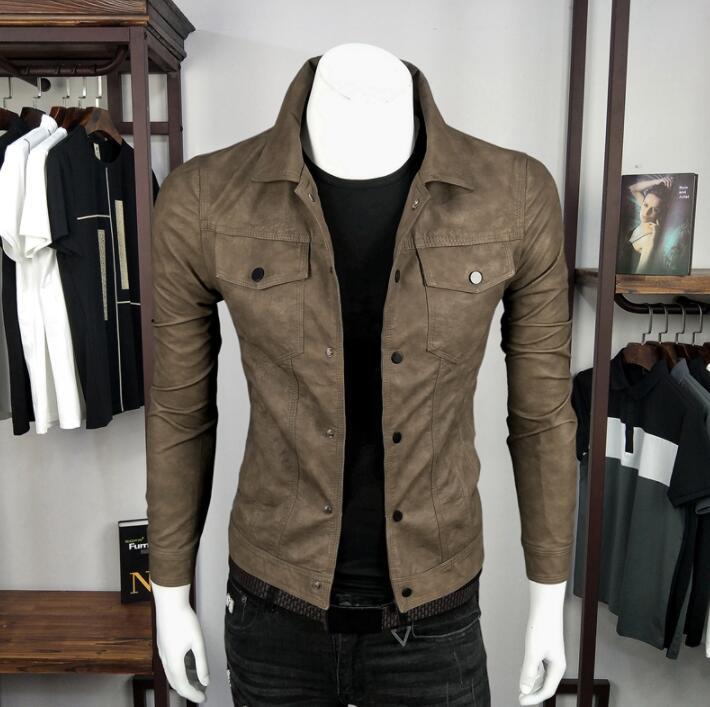 Chaqueta de cuero marrón para hombre, chaqueta ajustada para motocicleta, chaquetas para hombre, ropa de pu, chaqueta con solapa de couro stage street, moda de otoño e invierno