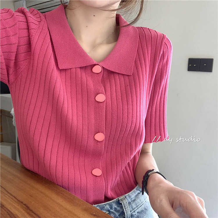 Women's Clothing 2021 New Summer Ice Silk Knitted Short Sleeve Design Blouse Slimming Polo Shirt Wom