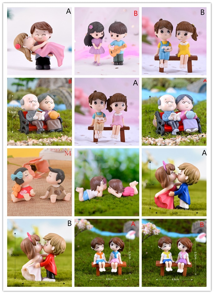 1/2Pieces Sweety Lovers Couple Chair Figurines Miniatures Fairy Garden Gnome Moss Terrariums Resin Crafts Home Decor