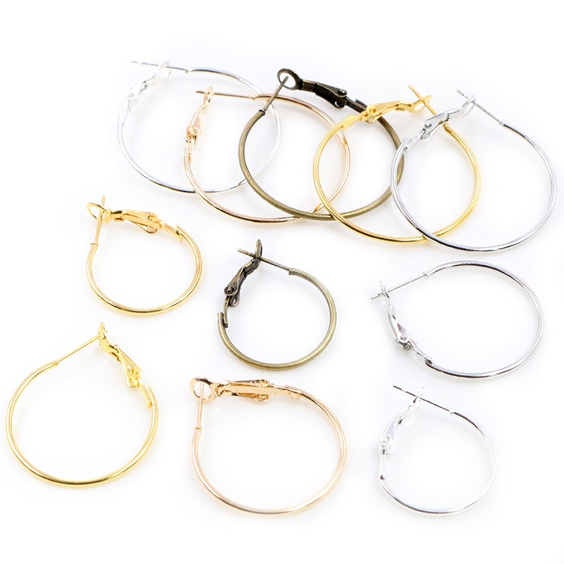 20pcs/Lot 20mm 25mm 30mm 5colors Plated Circle Round Hoop Round Big Circle Hoop Earrings DIY Women Jewelry Making late fall circle hoop lace up sweater