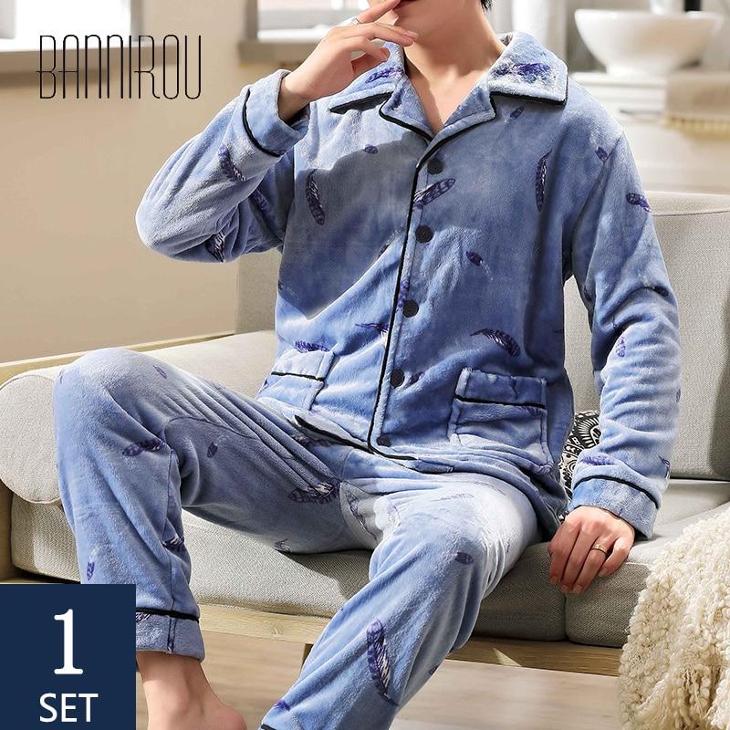BANNIROU Men Sleepwear Set Winter Warm Velvet Pyjamas Suits Pajamas Man Thicken Home Clothes 2020 New