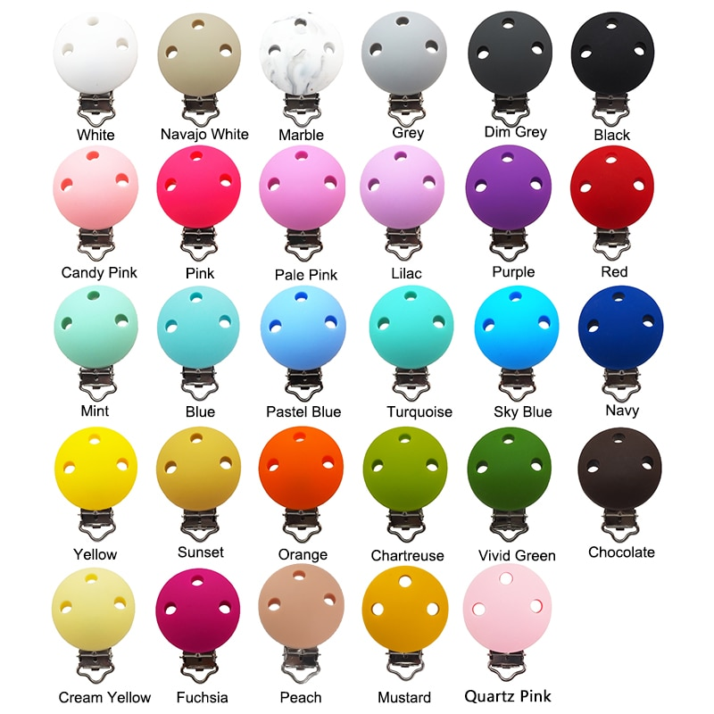 Chenkai 50PCS Silicone Round Teether Clips DIY Baby Pacifier Dummy Teething Soother Nursing Jewelry Toy Accessory Holder Clips