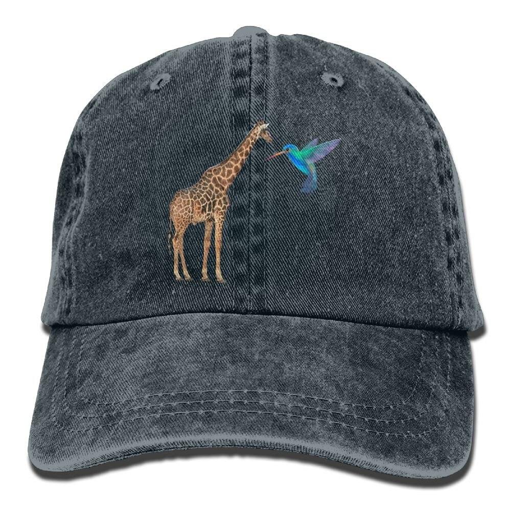 Giraffe and Hummingbird Unisex Cowboy Baseball Caps DadHatTrucker Hats