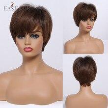 Pelucas cortas EASIHAIR de color marrón oscuro con flequillo, pelucas de pelo sintético Natural en capas, pelucas resistentes al calor para mujer Afo Américo