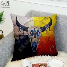 Negro indio Lakota cráneo Hip Hop funda de almohada decorativo de poliéster almohada tiro funda de almohada de forma cuadrada estilo-2