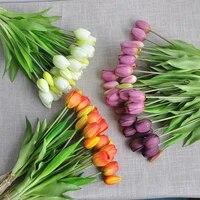 Bouquet de tulipes artificielles en Silicone  5 pieces Bouquet  fausses fleurs  toucher reel  pour decoration de mariage  fleurs decoratives pour la maison
