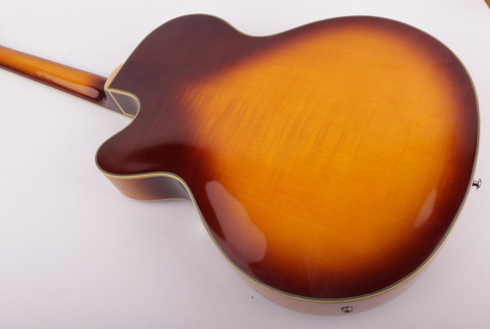 good quality jazz hollow body f hole thick body single cutaway electric guitar free shipping enlarge