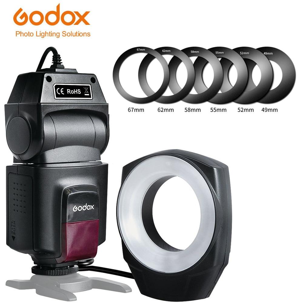 Godox ML-150 حلقة ماكرو فلاش Speedlite دليل عدد 10 مع 6 محول العدسة خواتم لكانون نيكون بنتاكس أوليمبوس سوني كاميرات