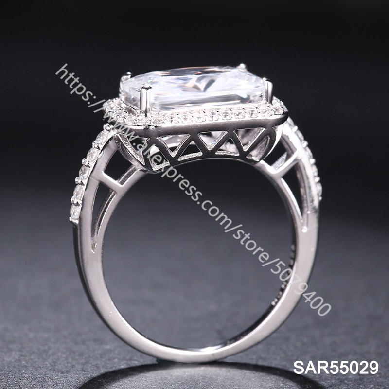 925 Sterling Silver ring Rectangle Radiant Cut Halo ring Cocktail CZ Engagement Ring Promise Celebration Ring Women's jewelry