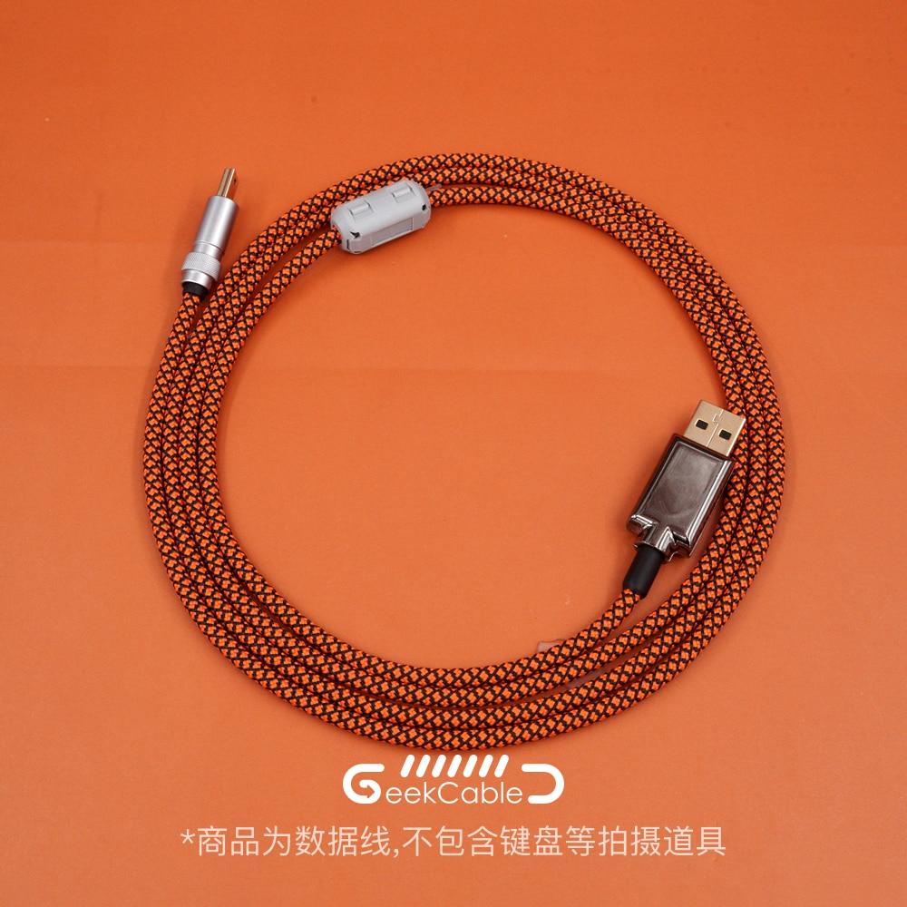 Geekكابل مصنوع يدويا حسب الطلب كابل بيانات لوحة المفاتيح نوع C مضفر كابل صغير USB واجهة مايكرو مستقيم كابل النايلون
