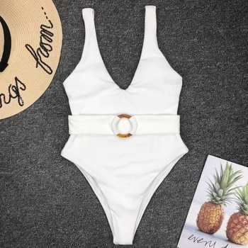 Solid Ribbed Bikini Swiming Suit Women One Piece Swimsuit Belt Sexy Swimsuit White Swimsuit Women 2019 Swim Suit Women Swimwear