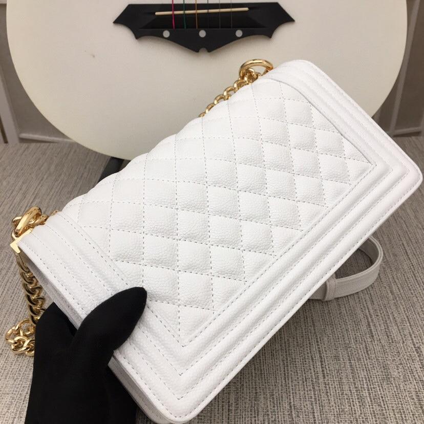 حقيبة جلدية سلسلة المعين الكلاسيكية الكافيار الوجه رسول واحد الكتف حقيبة نسائية عصرية