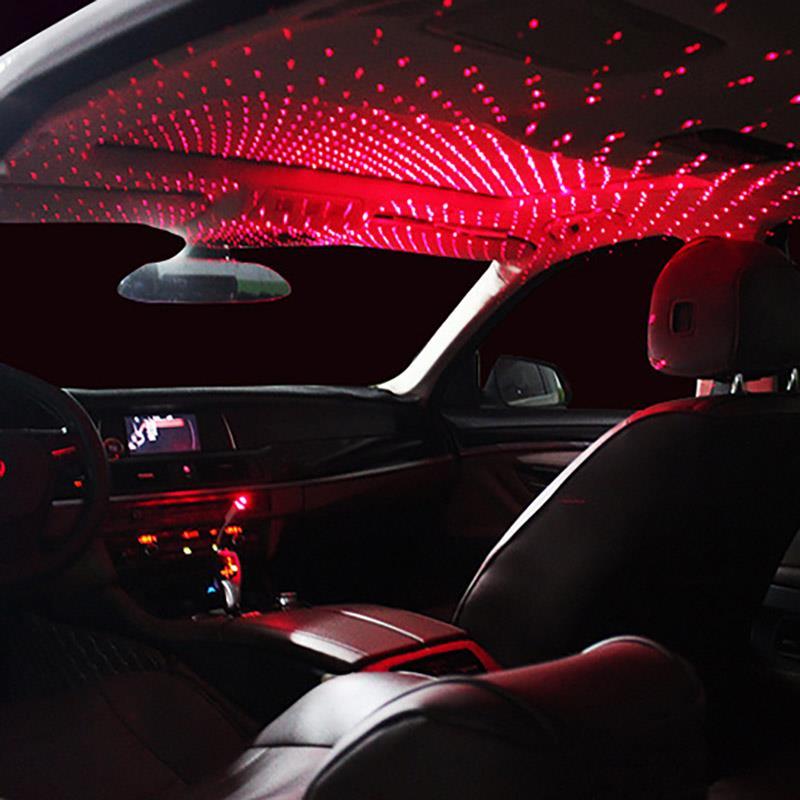 Mini LED techo de coche estrella luces de noche proyector luz Interior ambiente atmósfera universal lámpara de galaxia Decoración Luz USB enchufe