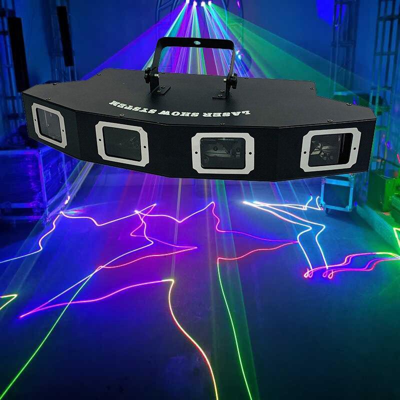 Сверхъяркий лазерный проектор для диджея, сценический лазерный прожектор с 4 линзами, RGB лазерный светильник DMX, светильник цветные световые...