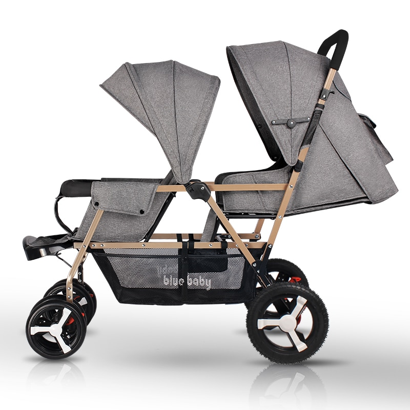 Twin baby stroller light foldable child double seats baby pram Baby carriage easy control child perambulator