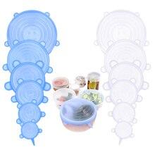 6 pièce/ensemble Silicone emballage alimentaire bol Pot couvercle Pan cuisson accessoires de cuisine garder frais joint réutilisable couvercles extensibles