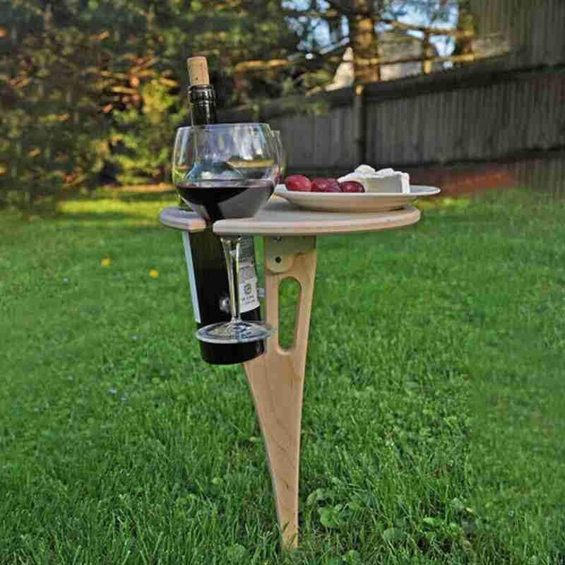 Outdoor Wine Foldable Table Portable Wine Table Outdoor Picnic Wine Glass Holder for Camping and Dining Removable Wooden Table outdoor dining table outdoor table aluminium