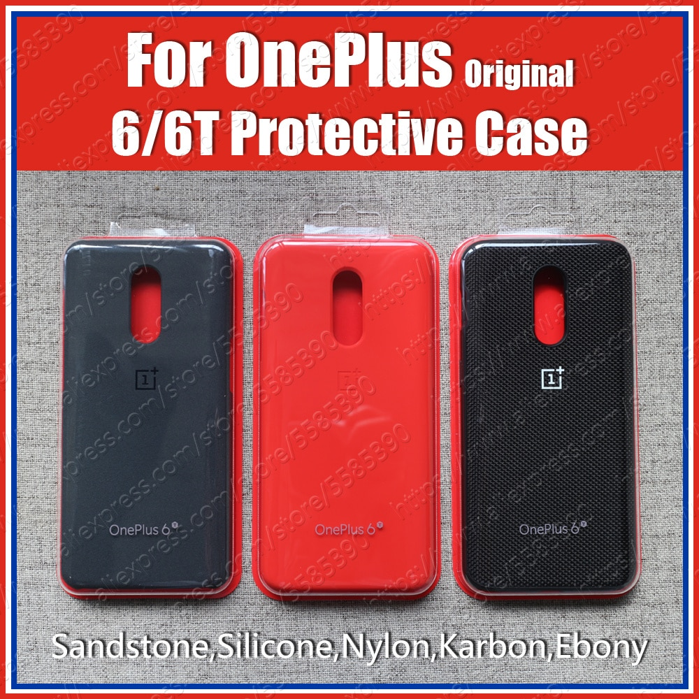 A6013 Official OnePlus 6t Case original 1+6T bespoke Silicone Sandstone Nylon Karbon Bumper Leather
