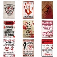 tin sign beware danger zombie poster wall decor art plaque metal signs shabby iron poster for music cafe pub club bar