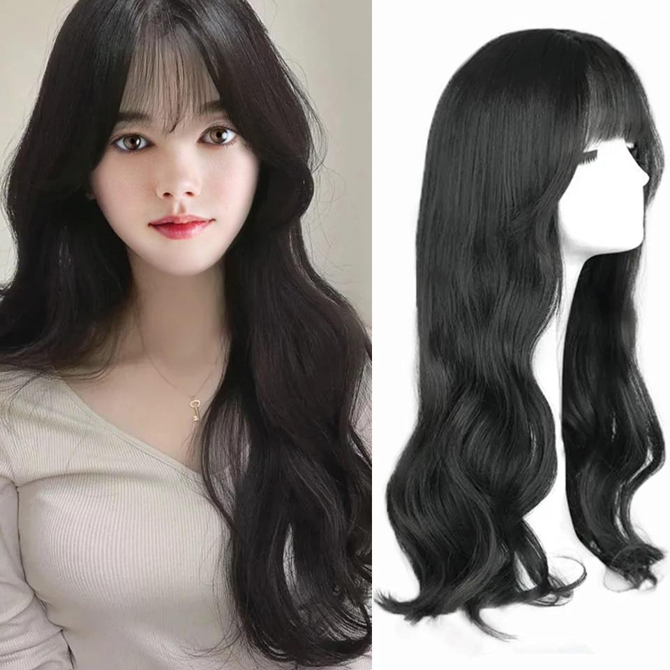 SHANGKE Synthetic Wigs Heat Resistant Daily Wig Long Wavy Hair Wigs For Women Natural Black Brown Gray Blonde Cosplay Wig