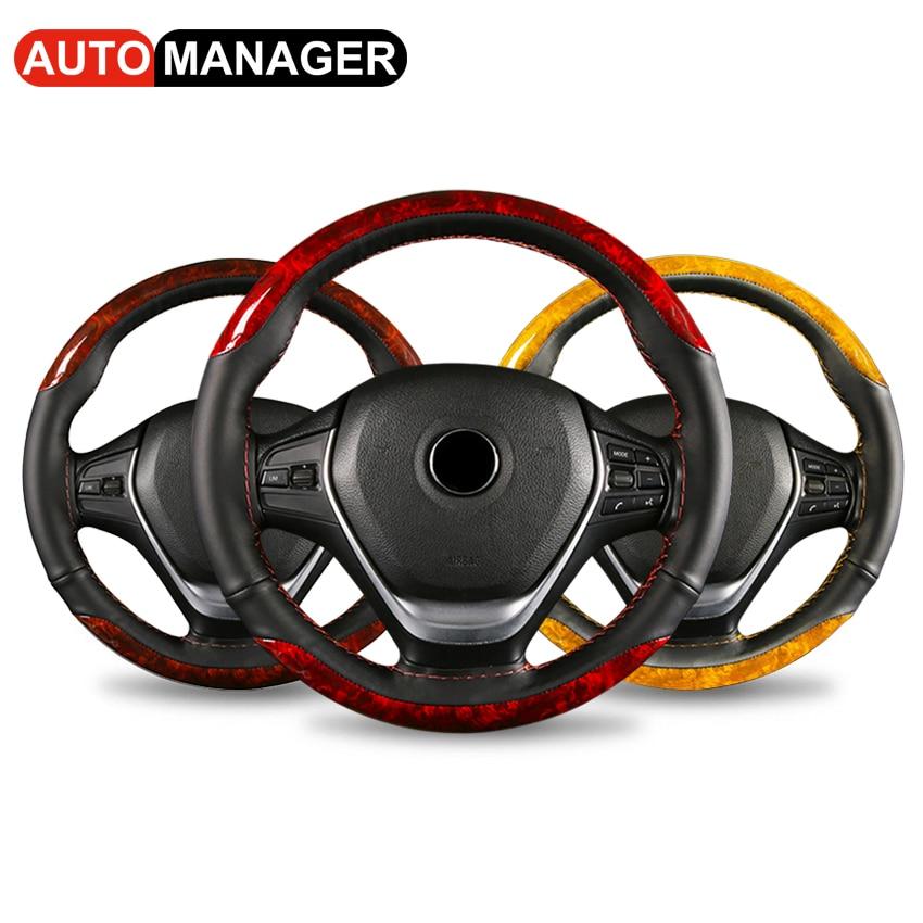 Деревянный узор чехол рулевого колеса автомобиля Универсальные плетеные кожаные чехлы для автомобиля 38 см 15 дюймов рулевое колесо