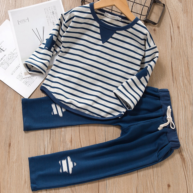 Комплекты одежды для маленьких мальчиков, новинка 2021, весенне-Осенняя детская одежда для мальчиков, спортивные костюмы в полоску для мальчи...