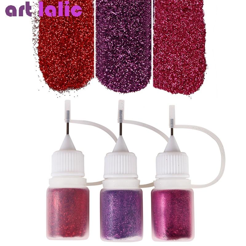 Juego de 3 botes de diamantes brillantes para uñas, conjunto de brillo en polvo metálico brillante para manicura, pigmento tipo espejo cromado, Kit de decoración DIY para uñas