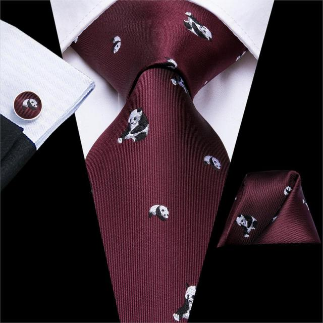 Hi-Tie Silk Ties For Men Handkerchiefs Cufflinks Set Cartoon Flora Panda Large Men's Tie Set Gift For Men Jacquard Gravatas