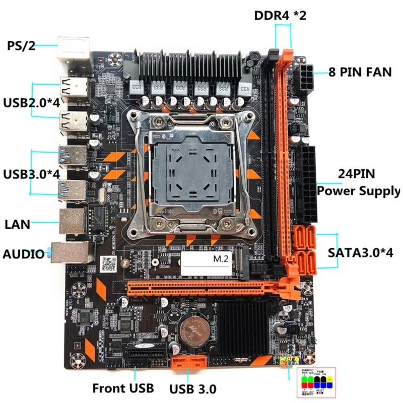 67JA New X99 Motherboard LGA2011-3 Pin Computer Motherboard DDR4 Memory E5 2678 2690V