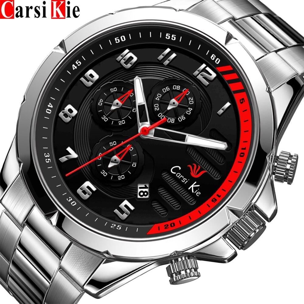 Carsikie-ساعة رياضية فاخرة للرجال ، ساعة يد من الفولاذ المقاوم للصدأ ، كرونوغراف ، عصرية