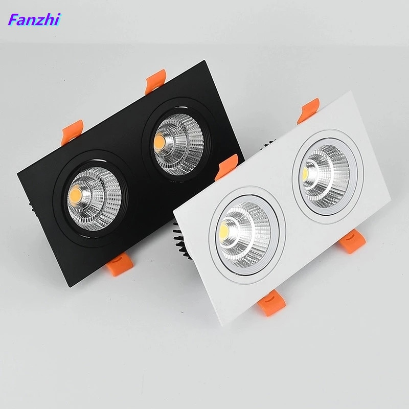 1pcs double square Dimmable Led downlight light COB Ceiling SpotLight14W 20W 24W 30WLED ceiling recessed Lights Indoor Lighting