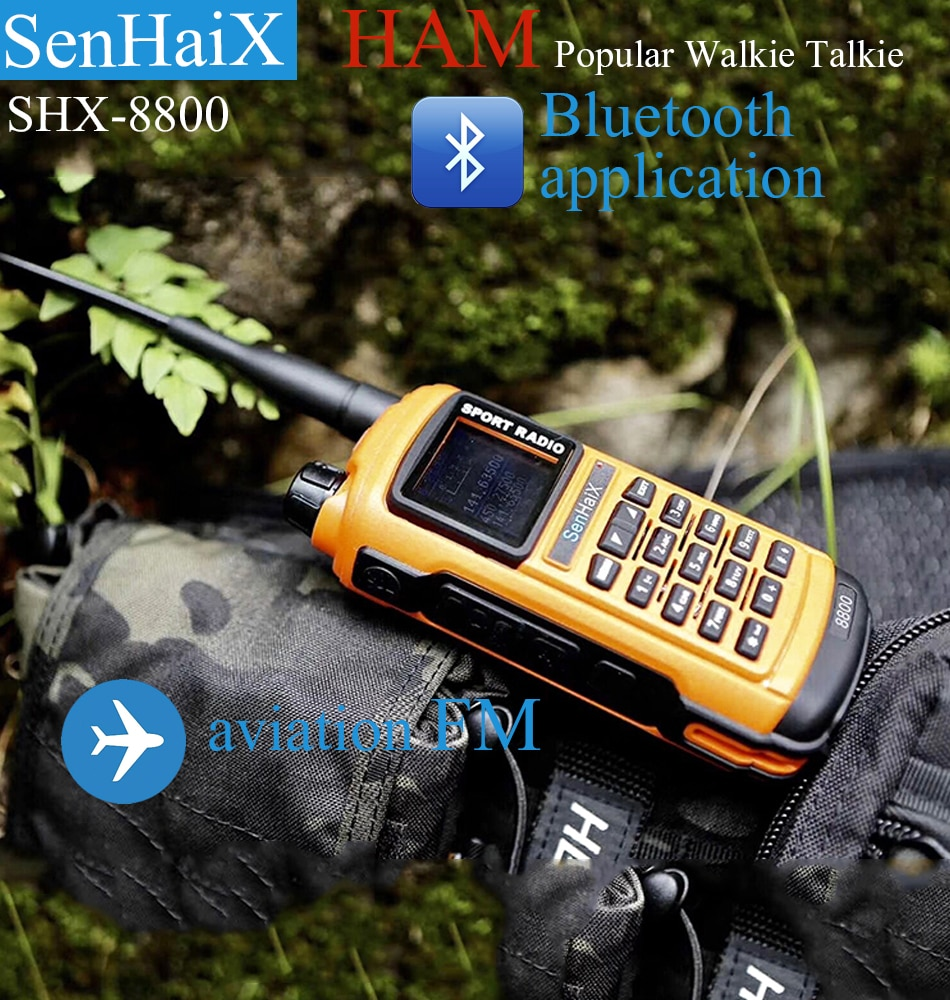 SenHaiX GP8800 Ham Walkie Talkie Bluetooth Waterdichte TPU Bluetooth Programming LED Glare Transceiver