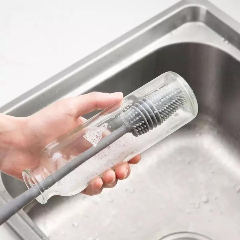 Многофункциональная щетка из термопластичной резины, щетка с длинной ручкой для чашек, бытовая кухонная губка для мытья посуды, Детская щет...