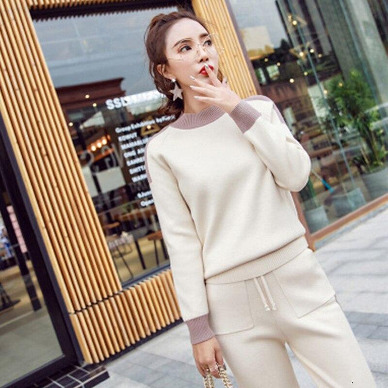 Pull tricoté 2 pièces ensemble femmes tenues survêtement chaud correspondant co-ord hiver automne vêtements haut et pantalon costumes 2 pièces blanc