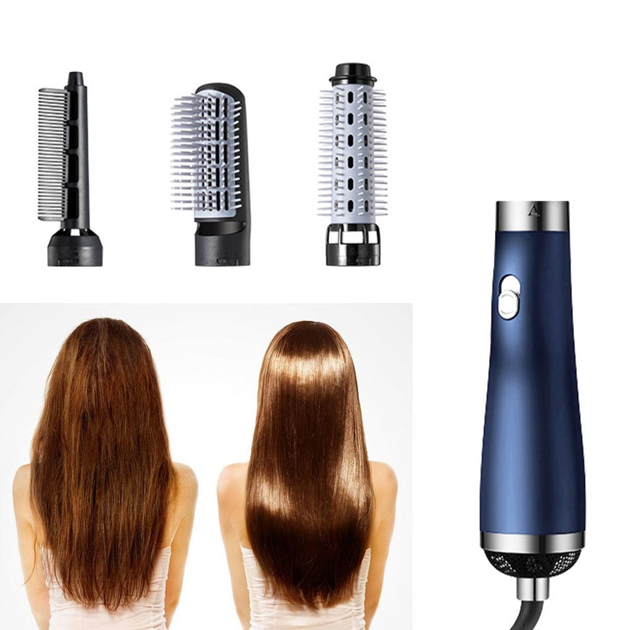 3 In 1 Hair Hot-Air Brushes  Blow Dryer Comb Negative Ion Curler with Anti Scalding Hair Dryer Hair Straightener  Hair Curler