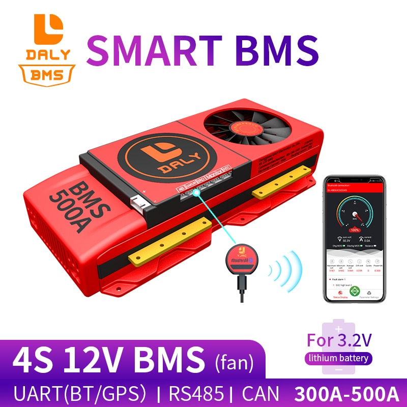 18650 smart LiFePO4 4S BMS 12V 300A 400A 500A Bluetooth 485 to USB device NTC UART togther Lion LiFePO4 LTO Batteries With Fan
