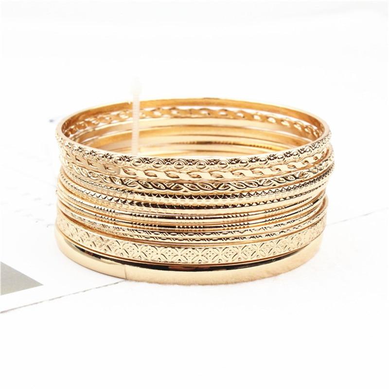 Женские браслеты-браслеты золотистого цвета в стиле ретро, 11 шт./компл., круглый металлический браслет в индийском стиле, вечерние ювелирные изделия, подарки