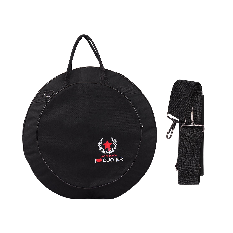 Cymbal mochila preta com bolsos duplos, tira de ombro, 10mm, anticolisão, intercamada
