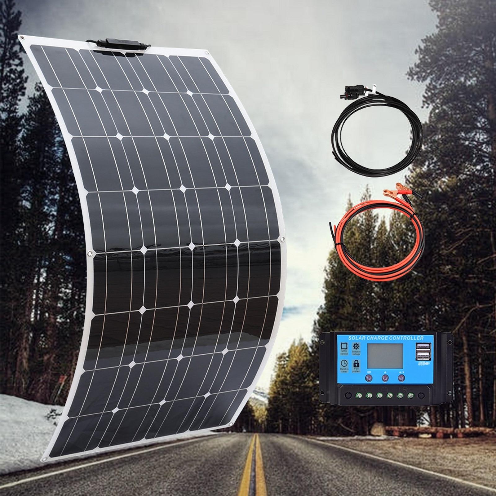 مجموعة اللوحة الشمسية و 50 واط 100 واط لوحات شمسية مرنة 12 فولت 24 فولت شاحن بطارية عالية الكفاءة وحدة ل شاحن بطارية