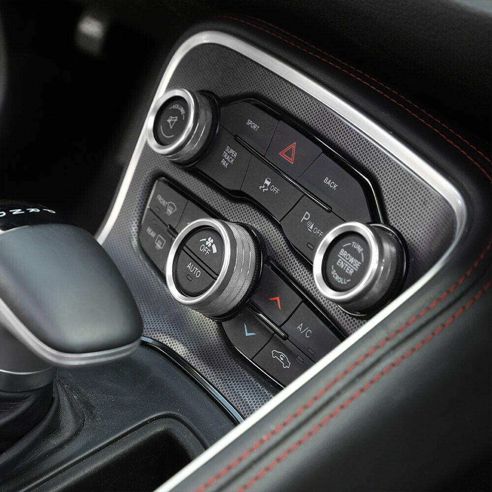 Kit de ajuste de cubierta de anillo de botón para Radio para Dodge Charger 2015-2019, adhesivo plateado de Interior para coche