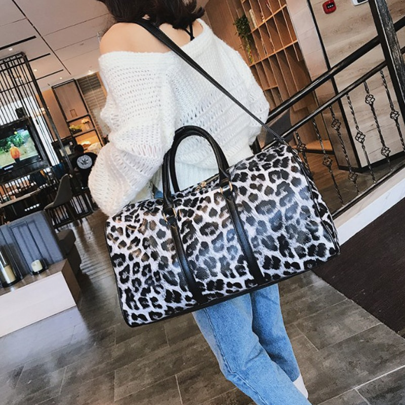 travelling bags and luggage for women leather duffle bag Leopard travel hand large duffel